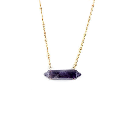 Amethyst Bar with Crystal Point Necklace