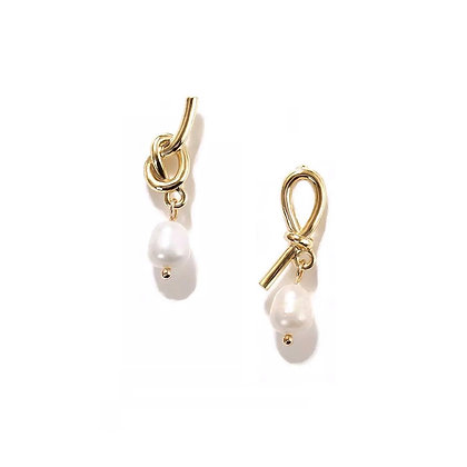 Knotted Pearl Drop Earrings -S925 Post