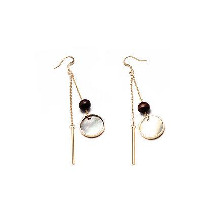 Wooden Ball Shell Drop Earrings