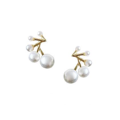 Fan Pearl Stud Earrings -S925 Post