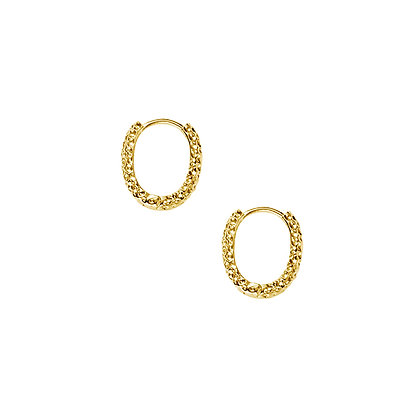 S925 Hammered Oval Hoop Earring