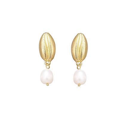 Pearl with Cowrie Shell Drop Earrings