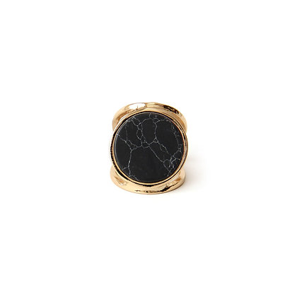 Black Marble Double Band Ring