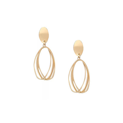 Brushed matte Gold-Four Oval Earrings