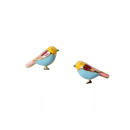 S925 Colourful Bird Studs