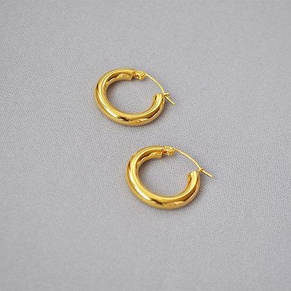 18k Gold Filled Thick  Hoop Earrings