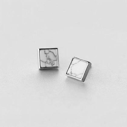 S925 Square Marble Earrings