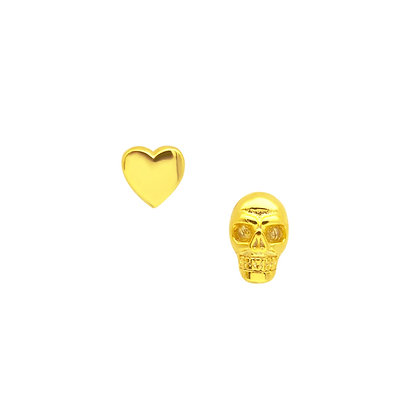 S925 Heart & Skull Earrings