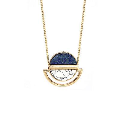 Lapis Howlite Circle Necklace