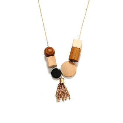 Gold Tassel Geometric Wood Pendant
