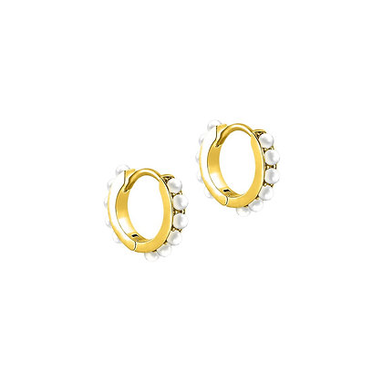 S925 Mini Pearl Huggie  Earrings