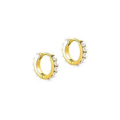 S925 Mini Pearl Huggie Earrings