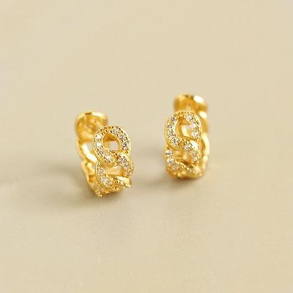 S925 CZ Chain Hoop Earrings