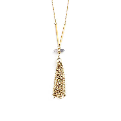 Drop Stone Pendant with Tassel Chains