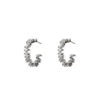 Sparkle Silver Hoop Earrings -S925 Post