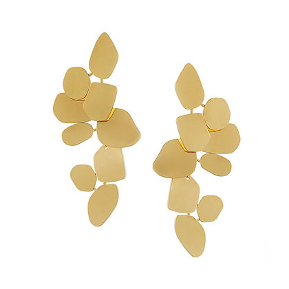 Separable Gold Brushed Matte  Fleur Drop Earrings -S925 Post