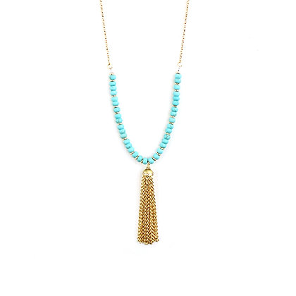 Aquamarine Bead Necklace with Tassels