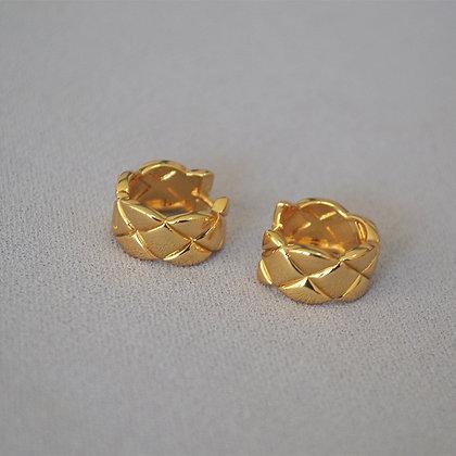 18k Gold Filled Plaid Hoop Earrings