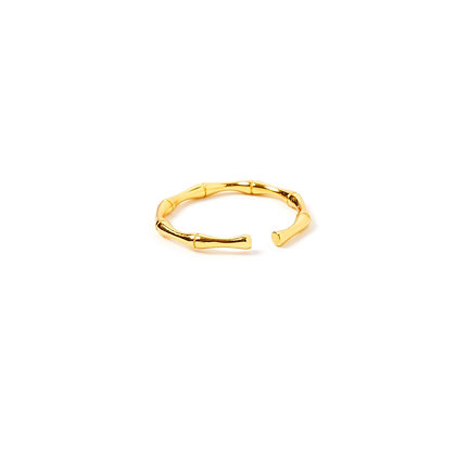 S925  Bamboo Adjustable Ring