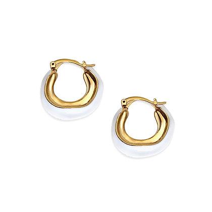14k Gold Plated- White Swirl Hoops