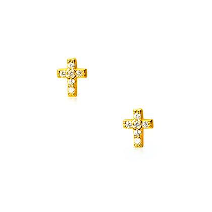 S925 CZ Cross Stud Earrings