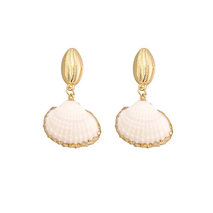Sea Shell with Gold Cowrie Shell Drop Earrings
