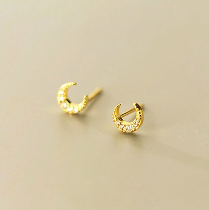 S925  Mini CZ Moon Earrings