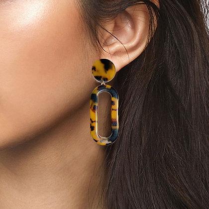 Tortoiseshell Drop Earrings with Open Link