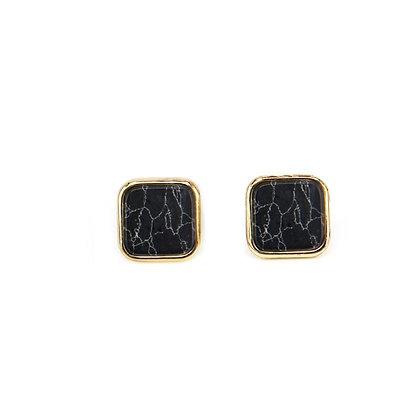 Square Black Marble Earrings