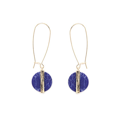 Blue Marble Hook Earrings