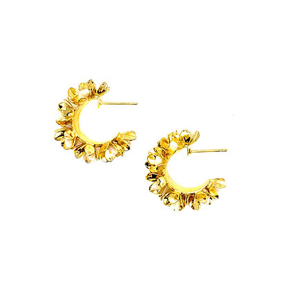 18k Gold Plated- Floral Gold Hoop Earring -S925 Post