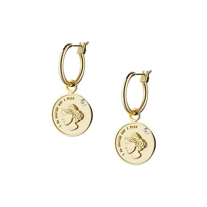 18k Gold Plated-Coin Hoop Earrings