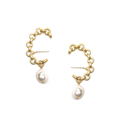 Link w Fresh Water Pearl Studs - S925 Post