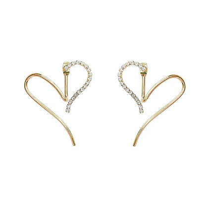 Heart Jacket Earrings-S925Post