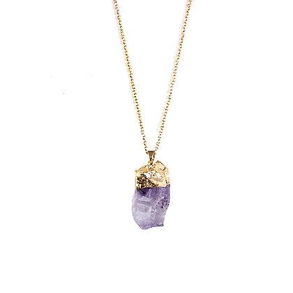 Raw Amethyst Pendant Necklace