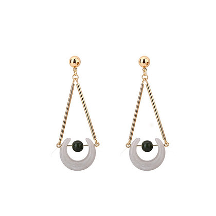 Lucky Horseshoe with Sphere Natural Stone Drop Earrings