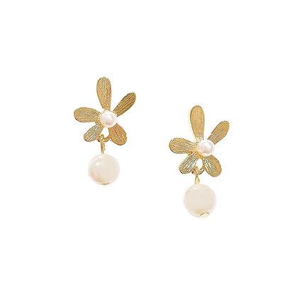 Daisy Pearl Drop Earrings -S925 Post