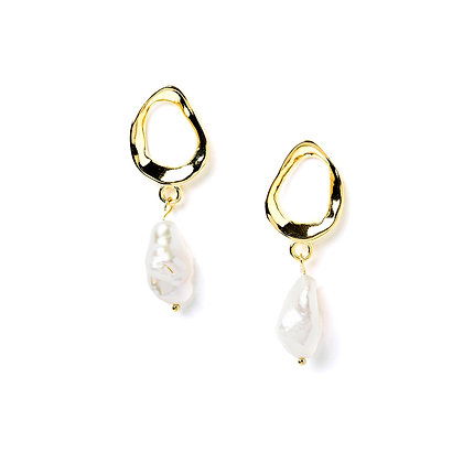 S925 Organic Freshwater Pearl Drop Earrings