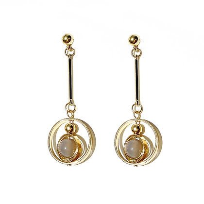 Hollow Circle with Sphere Earrings