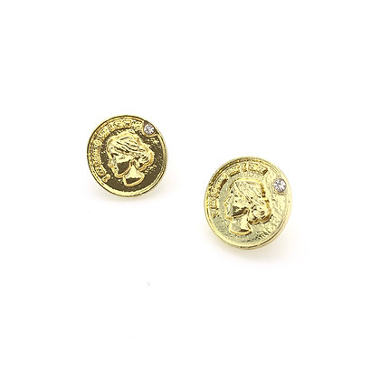 18k Gold Plated- Coin Stud Earring -S925 Post
