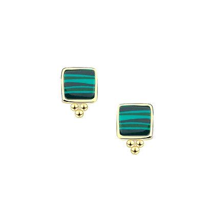S925 Green Sand Quartz Stud Earrings
