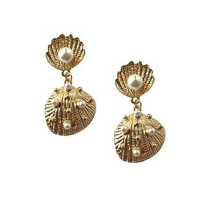 Sea Shell with Pearl Drop Earrings