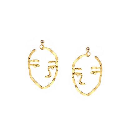 Two Tone Face Earrings