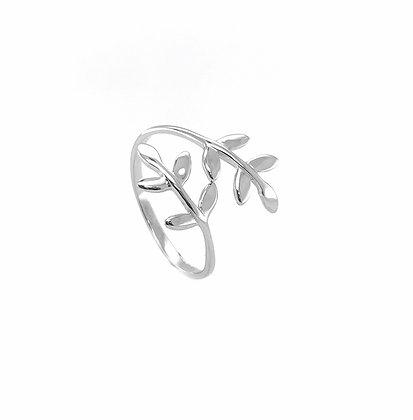 S925 Olive Leaf Adjustable Ring