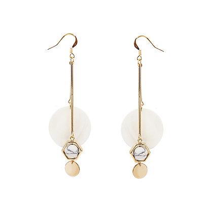 Geometric Shell Long Earrings