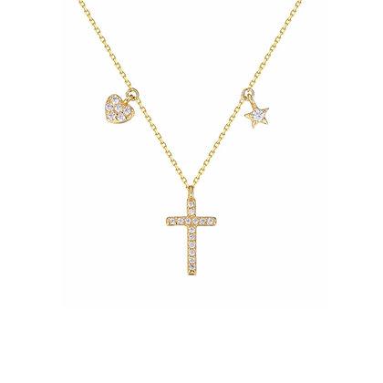 S925  Heart +Star Cross Necklace