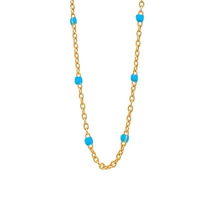 S925 Gold Necklace w Enamel Beading