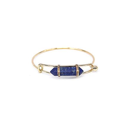 Expandable Bangle Bracelet with Blue Stone