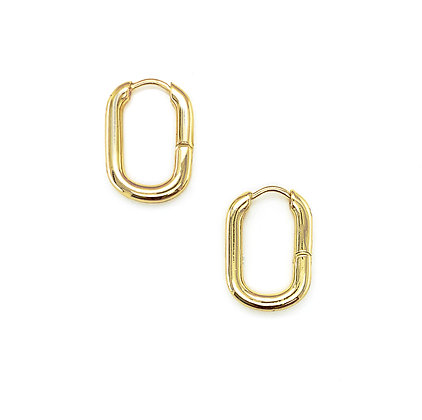 14k Gold Plated-Oval Hoop Earrings