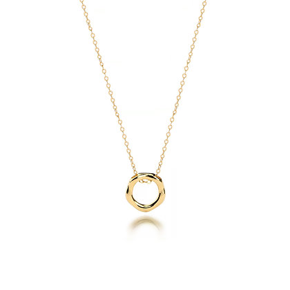 S925 Open Circle Gold Necklace
